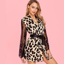 Contrast Lace Belted Leopard Robe With Thong