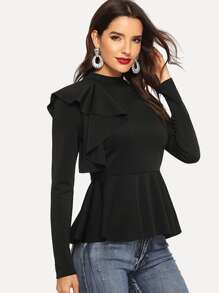 Ruffle Trim Mock-neck Peplum Top