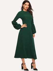 Bishop Sleeve Frill Detail Fit & Flare Dress