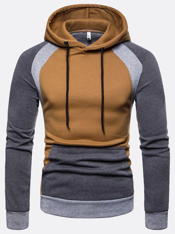 88ab2f3e9121a Sweat-shirt à capuche avec blocs de couleurs | SHEIN