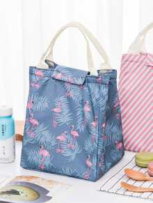 Flamingo Print Velcro Lunch Bag