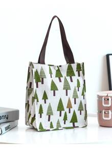 Tree Print Handle Storage Bag