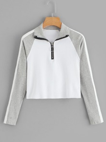Ribbed Quarter Zip Cut And Sew Raglan Sleeve Jumper