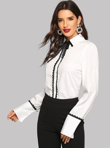 Tie Neck Contrast Lace Shirt