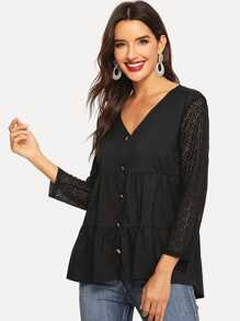 Contrast Lace Sleeve Single Breasted Blouse