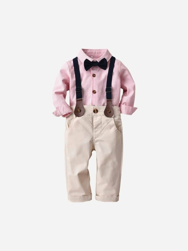 b626b6de1 Toddler Boys Bow Tie Striped Shirt With Overalls | SHEIN