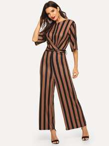 Tie Waist Wide Leg Striped Jumpsuit