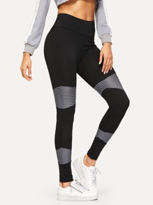 Patchwork Wide Waistband Leggings