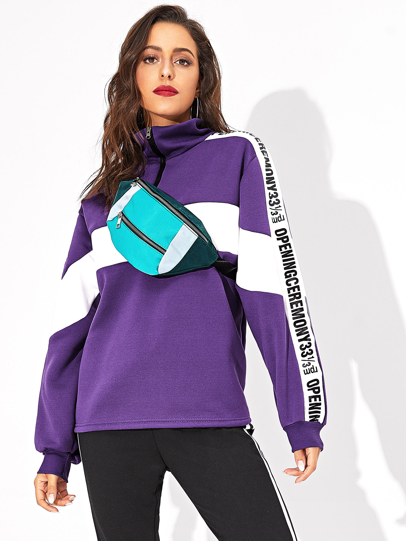 Letter Print Zip Half Placket Sweatshirt Letter Print Zip Half Placket Sweatshirt
