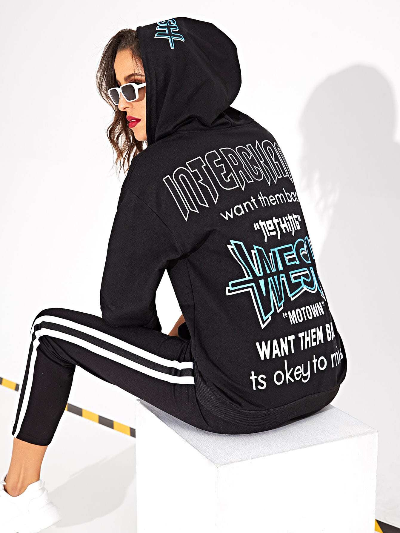 Letter Print Kangaroo Pocket Zip-up Hoodie Letter Print Kangaroo Pocket Zip-up Hoodie