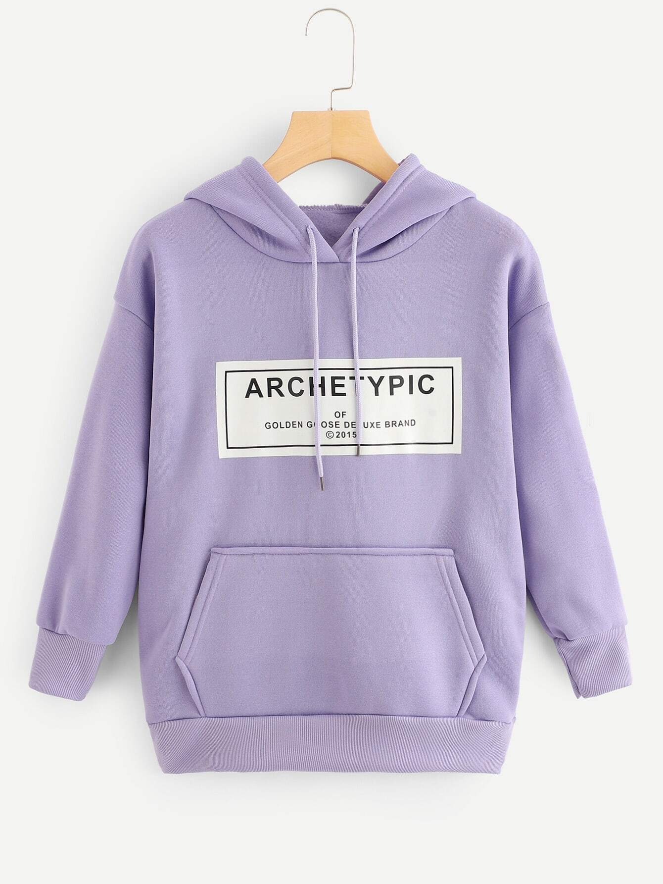 Letter Print Kangaroo Pocket Drop Shoulder Hoodie Letter Print Kangaroo Pocket Drop Shoulder Hoodie