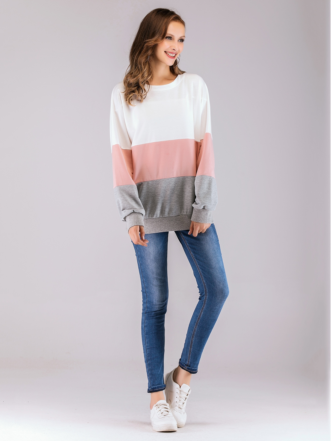 Colorblock Knot-back Drop Shoulder Sweatshirt Colorblock Knot-back Drop Shoulder Sweatshirt