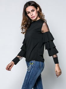 Contrast Mesh Layered Sleeve Tee