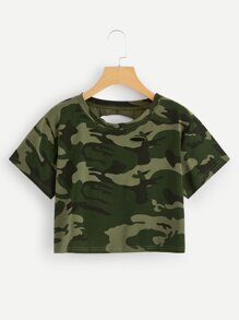 Camo Ripped-back Crop Tee
