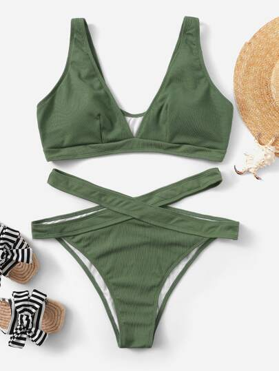 Plus V-Plunge Ribbed Top With Cut-out Bikini Set