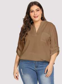 Plus Solid Dip Hem Blouse