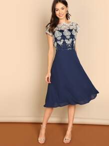 Guipure Lace Bodice Flare Dress