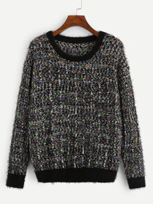 Solid Trim Marled Knit Fuzzy Sweater