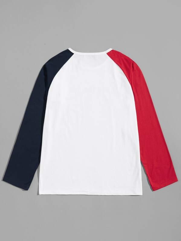 4f3b05c268 Men Color-block Raglan Sleeve Letter Tee | SHEIN