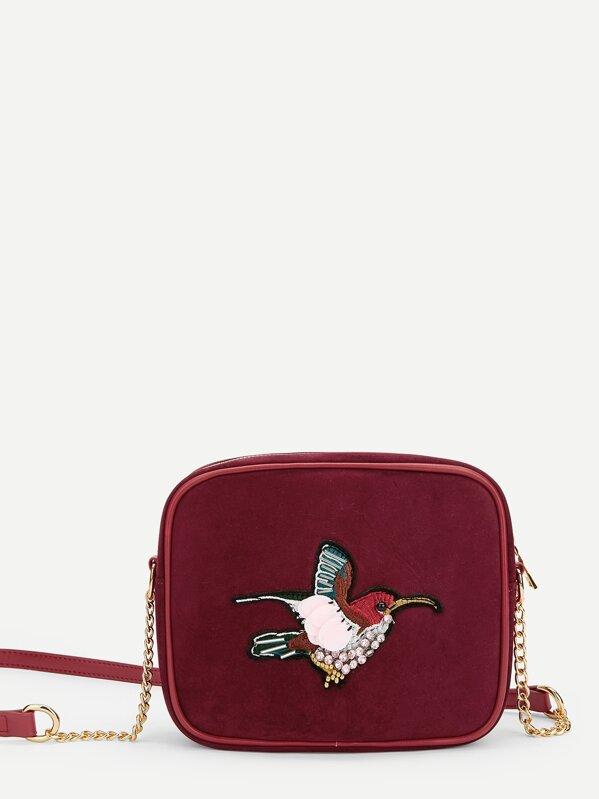 8a97b9650e Cheap Bird Embroidery Velvet Crossbody Bag for sale Australia | SHEIN