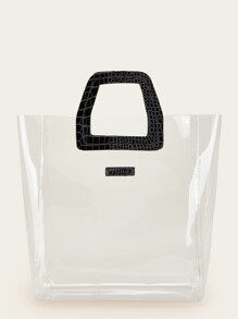 Color-block Clear Tote Bag