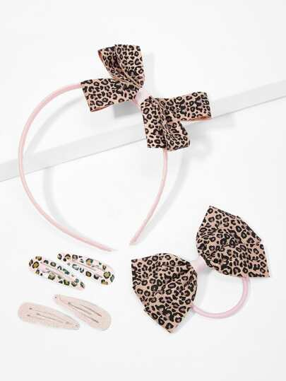 Girls Bow Decorated Leopard Hair Accessories Set 6pcs