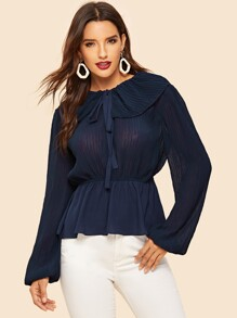 Tie Neck Peplum Top