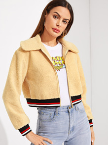 Zip Up Striped Hem Teddy Jacket