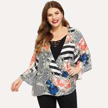 Plus Bell Sleeve Wrap Draped Top