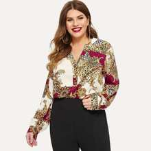 Plus Buttoned Front Dip Hem Top