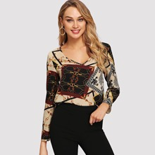 V-neck Retro Print Top