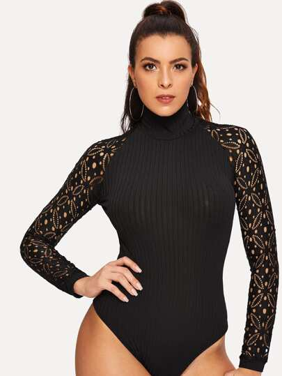 fa5eb98e14 Mock-neck Guipure Lace Sleeve Fitted Bodysuit