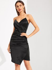 Ruched Surplice Wrap Dress With Chain Strap