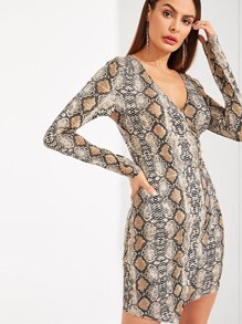 Snake Skin Print Surplice Wrap Fitted Dress