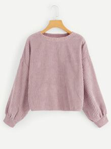 Drop Shoulder Ribbed Cord Pullover