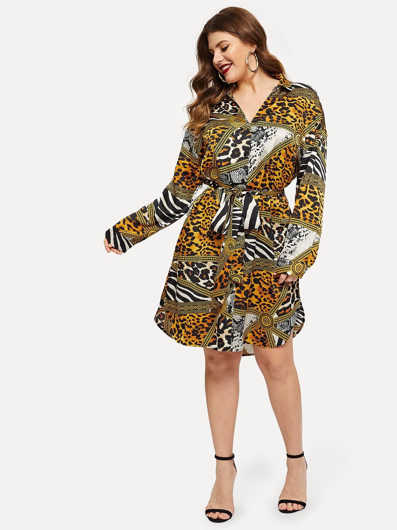 7412ac2610c Plus Chain Print Self Belt Dress EmmaCloth-Women Fast Fashion ...