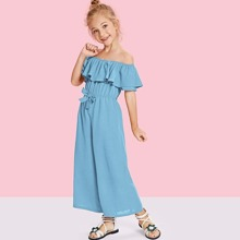 Girls Off Shoulder Tie Waist Wide Leg Jumpsuit