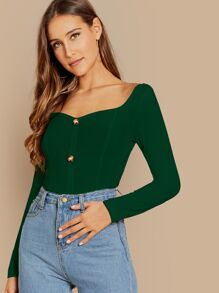 Square Neck Buttoned Rib-knit Tee