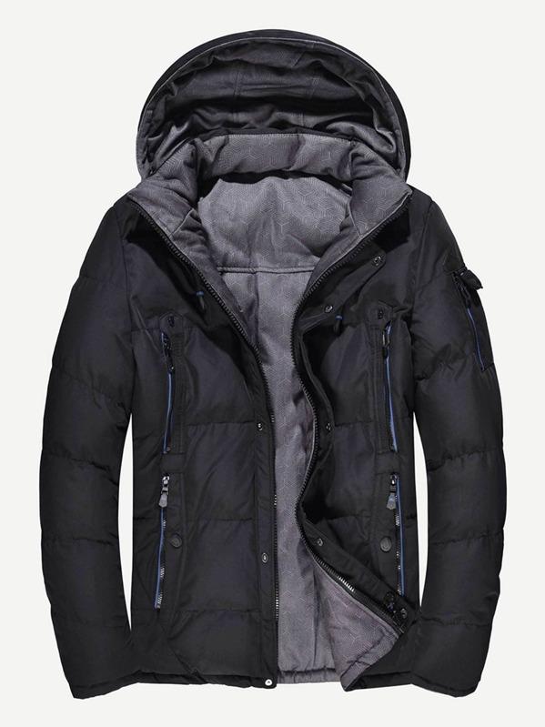 80fd24a8b7 Men Reversible Detachable Hooded Puffer Coat