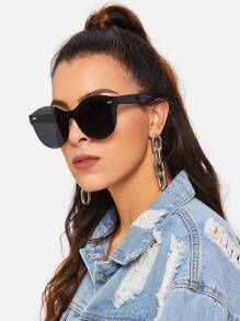 Metal Detail Rimless Sunglasses