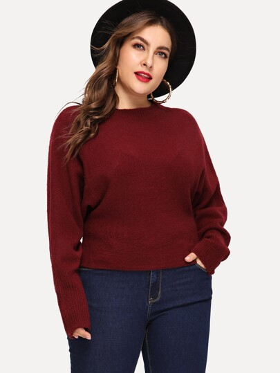 Plus Dolman Sleeve Solid Sweater