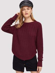 Raglan Sleeve Curved Hem Sweater
