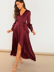 Waist Tie High-low Overlap Dress