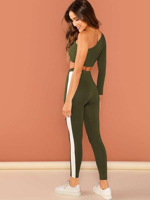 e5cb2ef423e One Shoulder Crop Top and Drawstring Waist Leggings Set | SHEIN IN