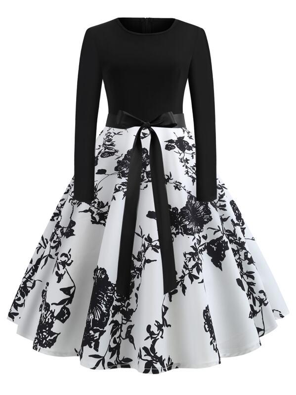f543f0d55 50s Ribbon Tie Floral Print Skater Dress | SHEIN UK