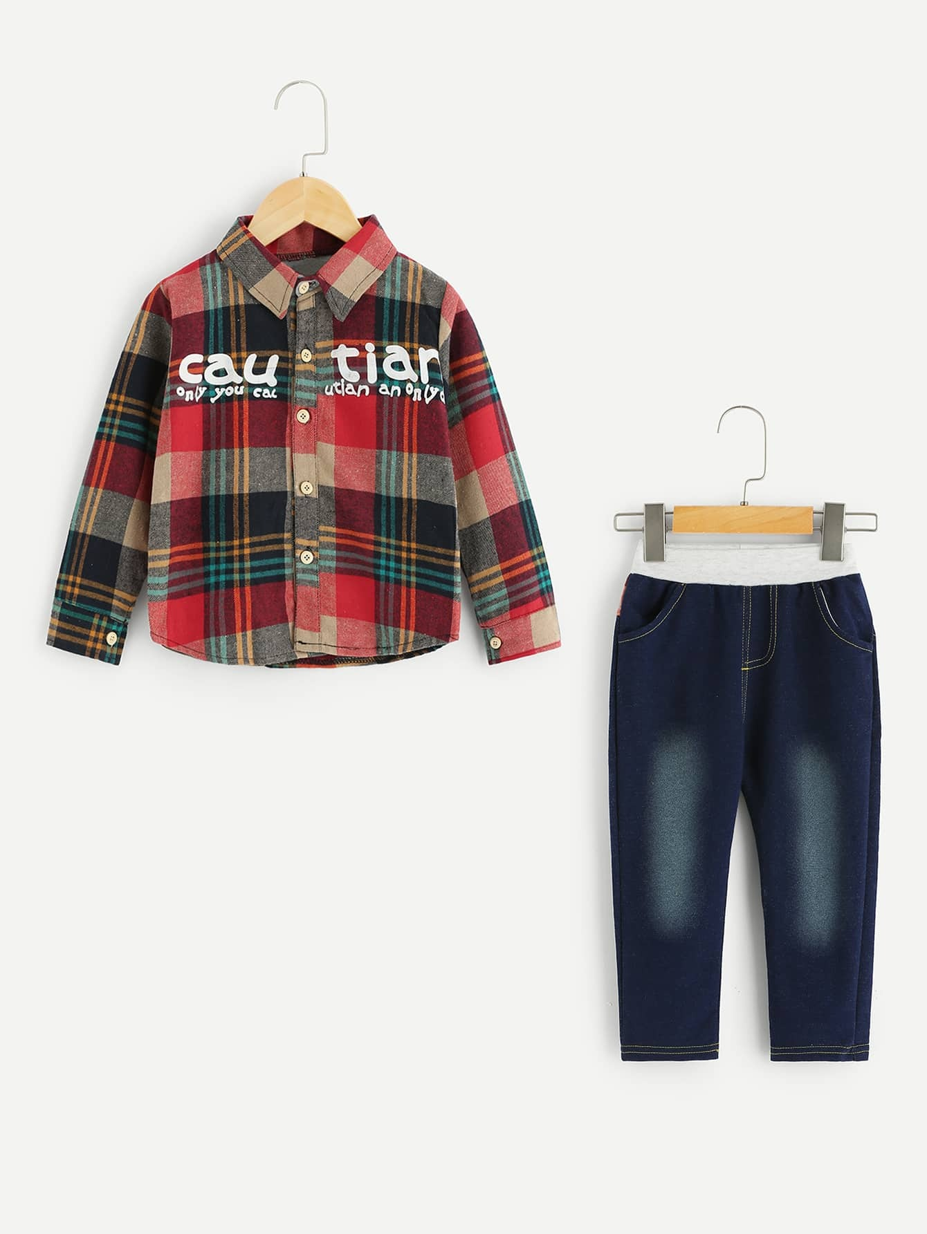Toddler Boys Letter & Plaid Pattern Shirt With Jeans Toddler Boys Letter & Plaid Pattern Shirt With Jeans