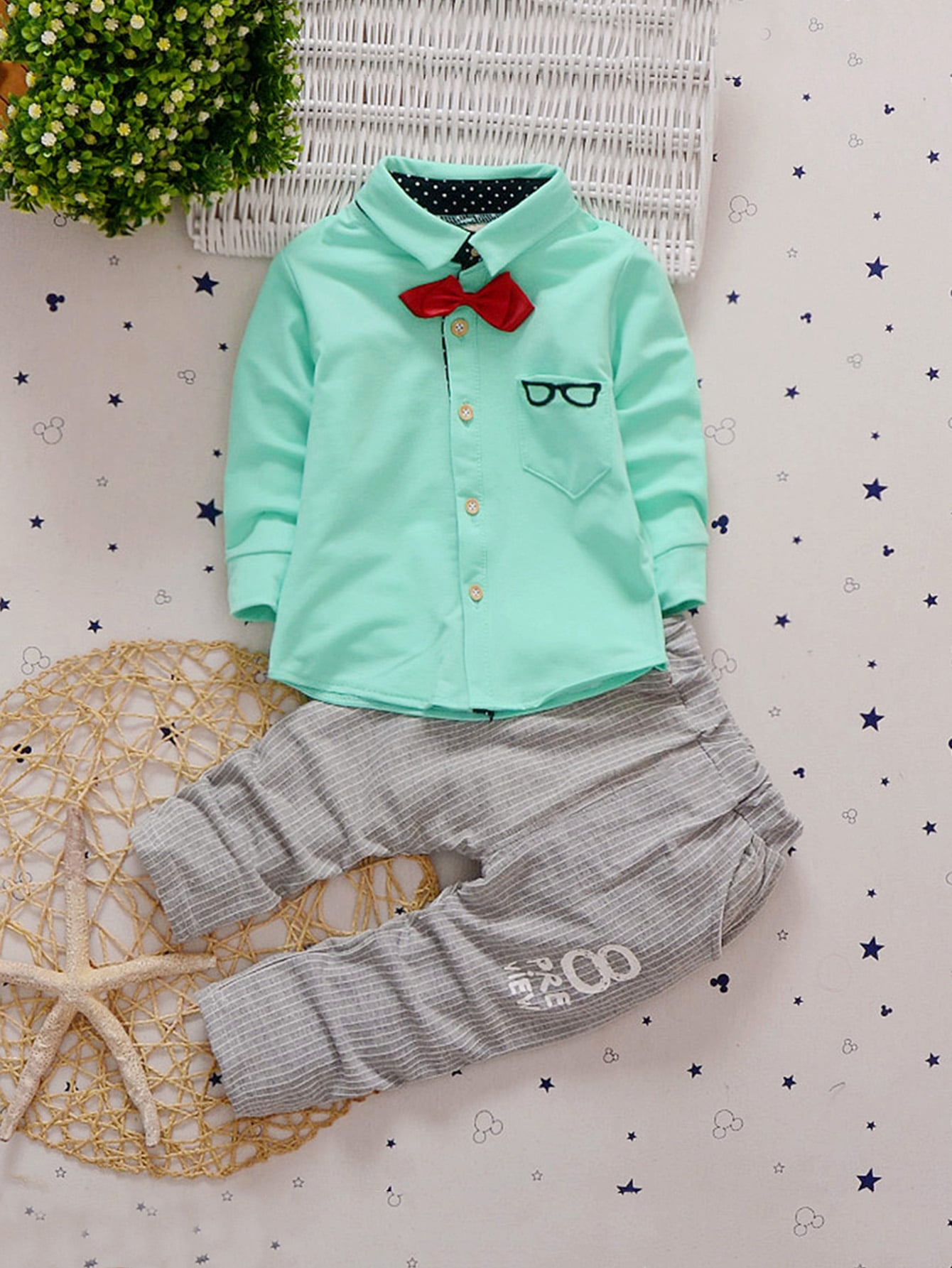 Toddler Boys Bow Detail Curved Hem Shirt With Striped Pants Toddler Boys Bow Detail Curved Hem Shirt With Striped Pants