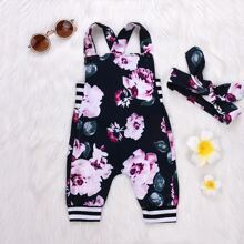 Toddler Girls Floral Print Straps Jumpsuit & Headband