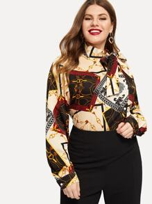 Plus Random Scarf Print Bow Detail Blouse