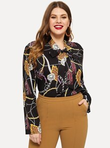 Plus Chain Print Tie Neck Blouse